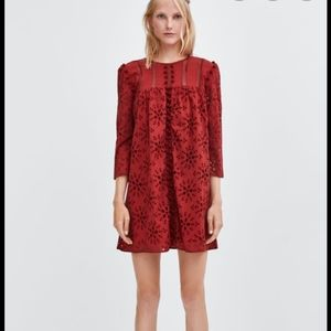 Zara burgundy pompoms embroidered mini dress